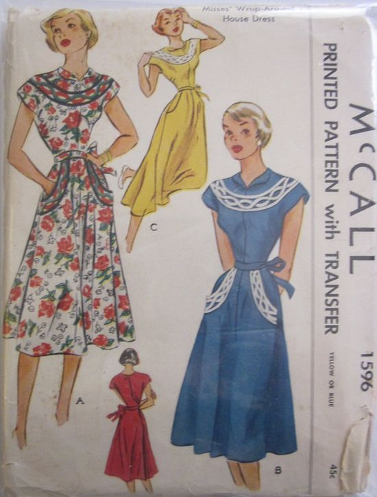 McCall 1596 - 1950s Women's Wrap Around House Dress Pattern. #vintage #1950s #sewing #patterns #dresses