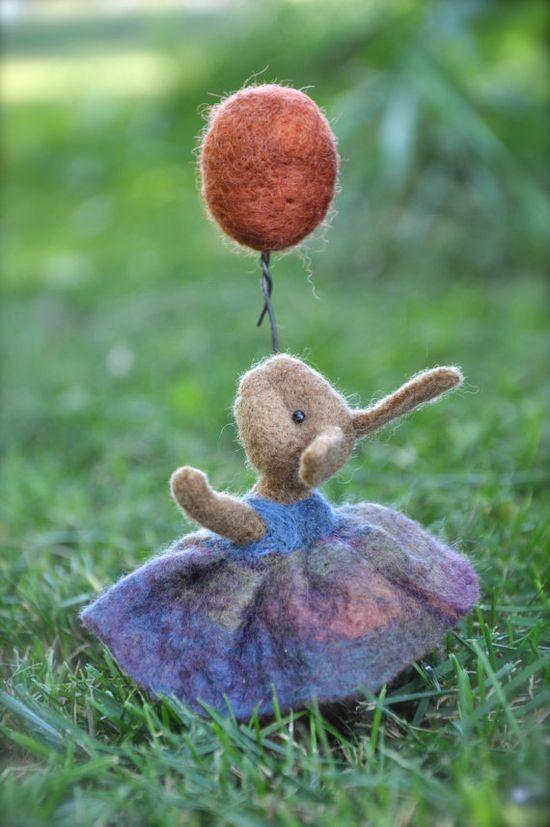 Bunny - needle felted with orange balloon