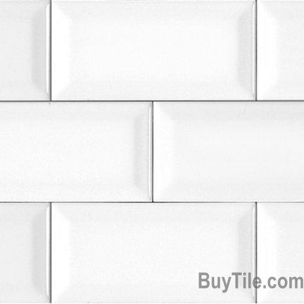 Glazed Ceramic Tile, Northeastern Tile, White Beveled Gloss Subway Tile, Olympia Tile,Subway Tile, Buytile.com