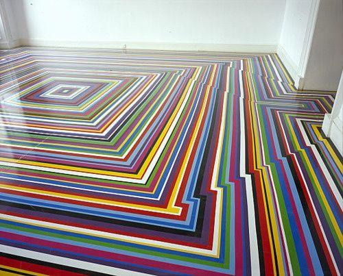 Vinyl Tape Floor Design by Jim #floor decorating #floor design ideas #floor interior design #floor designs #modern floor design