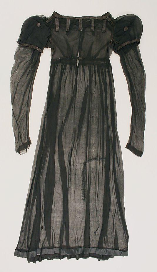 Sheer black silk dress, British, ca. 1812.