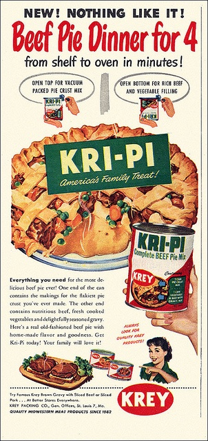 A complete beef pie in a can, what's not to love about this intriguing 1950s convenience food? :) #vintage #food #retro #1950s #fifties #beef #pie #ads #dinner