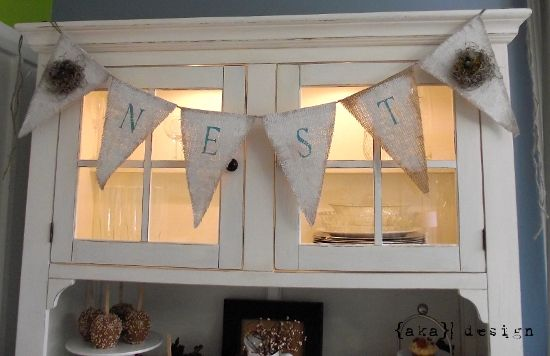 Nest burlap banner