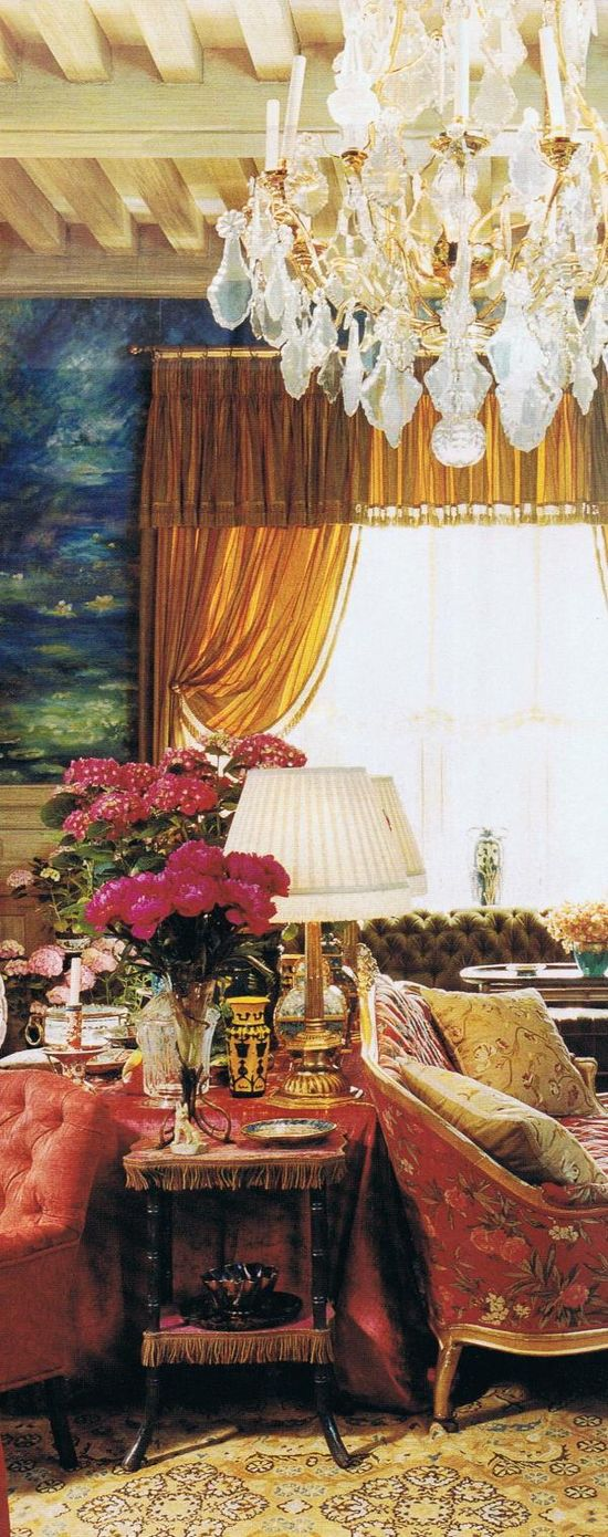 #design #interior #inspiration #community  YSL.  Monet water lilies inspired mural on whole wall!