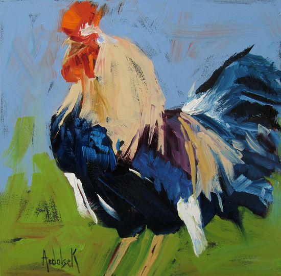 """Saatchi Online Artist: Barbara Andolsek; Oil, Painting """"Rooster"""""""
