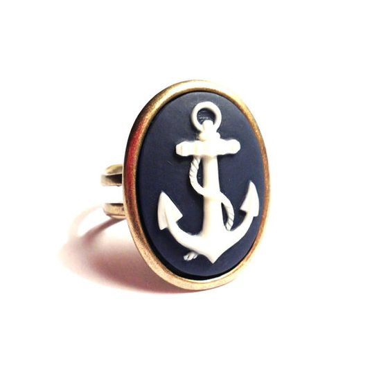 Navy Anchor Ring  High Quality Antique Bronze by BlueButtonBaubles, $12.50