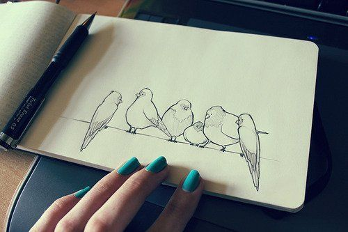 bird drawing - think embroidery