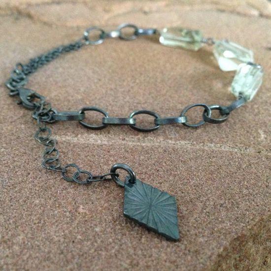 Green Amethyst Bracelet Oxidized Sterling by jewelrybycarmal, $68.00