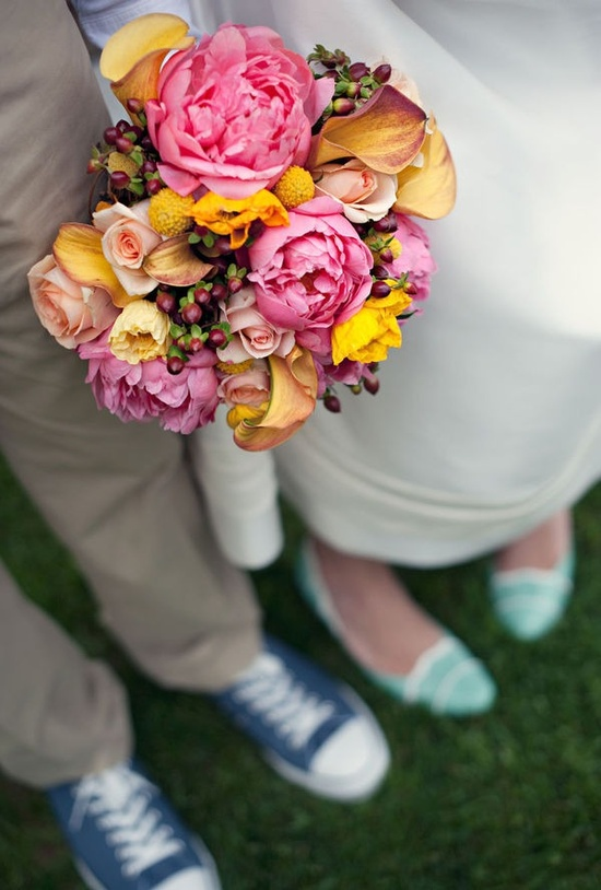 Cute and quirky wedding with blue shoes