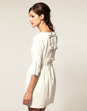 Pique Fit And Flare Dress With Bow Back Detail. love the bow back!