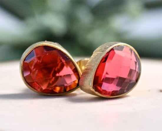 Red Stud Earrings Large Teardrop Stone Emerald Earrings by amyfine