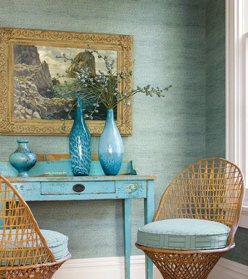 Decorating with turquoise. Beautiful, serene space.