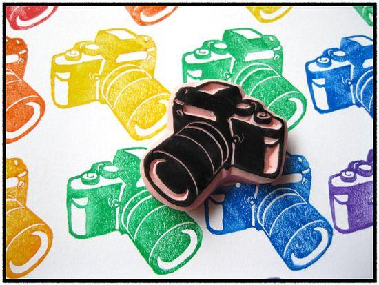 camera hand carved stamp