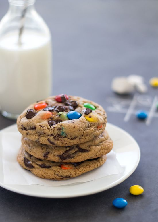 Soft-Baked M&M's Chocolate Chip Cookies from @Brian Harman of a Bright-Eyed Baker #cookies #mms