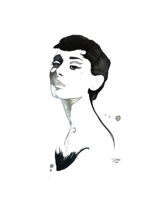 Audrey in Watercolor, #watercolor #audrey #hepburn by Jessica Durrant
