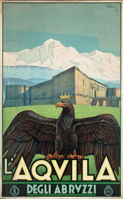 Published by the E.N.I.T. (Italian State Tourist Department), 1934,  L'Aquila Degli Abruzzi.(I)