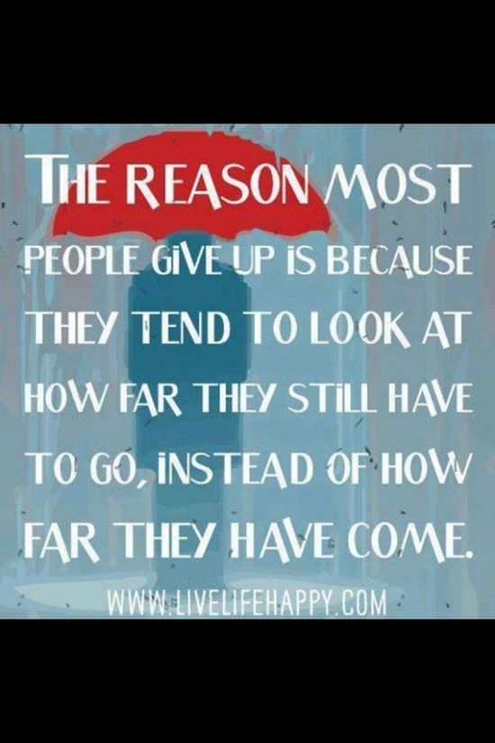 The reason most people give up is because they tend to look at how far they still have to go, instead of how far they have come. #reason #giveup #fartogo #look #far #dontstop #keepgoing #motivation #motivationalquotes