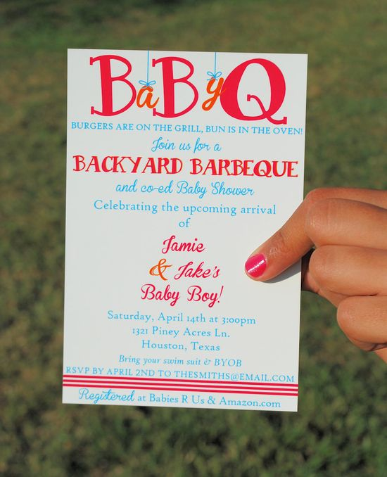 Printable Baby Shower BBQ Invitation. Co-ed baby shower. Love this idea!