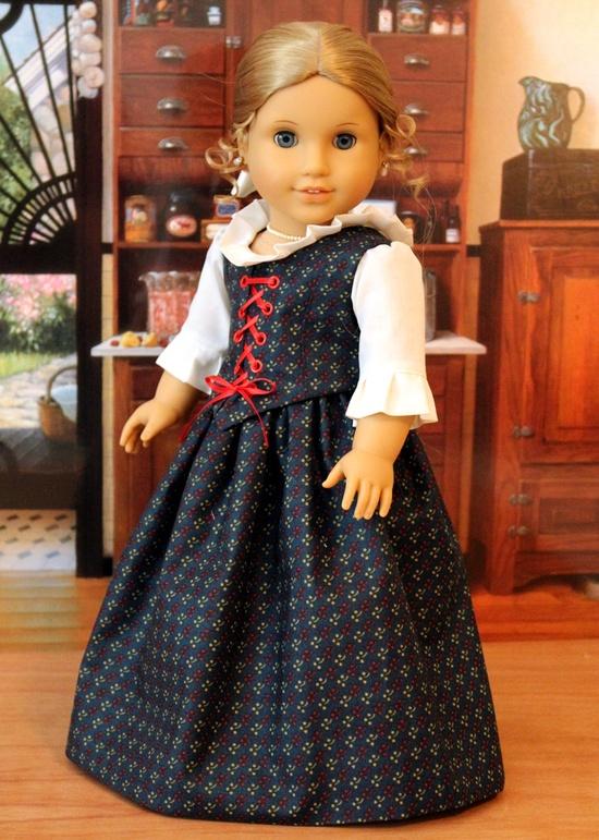 Colonial Dress for American Girl Doll Elizabeth or Felicity. $65.00, via Etsy.