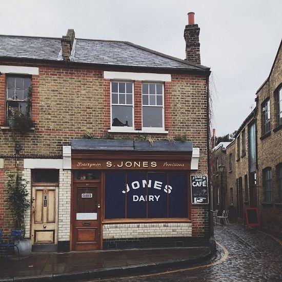 S. Jones Dairy, London #shop #window #sign #bold