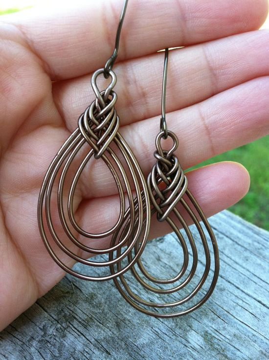 Pipa Knot Wire Earrings by UniQCreations on Etsy, $28.00