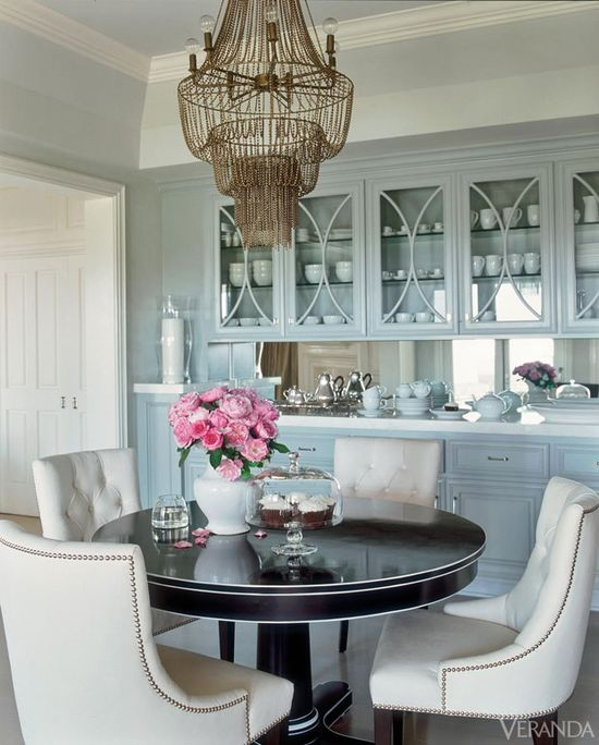 Serene Glamour - Love the gray/blue, glass paned cabinet doors, and breeze through... Updates for the Allison home