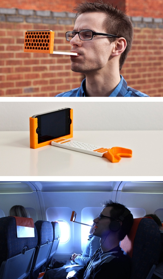 The gumPhone // Save your arms and neck while watching a movie by using your mouth to hold your phone at eye level.