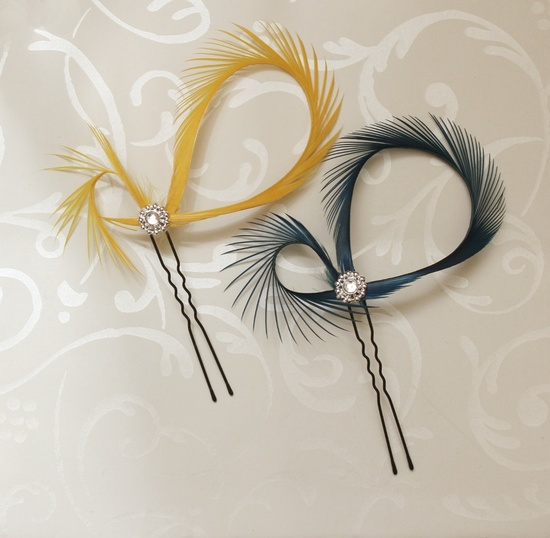 Feather Hair Accessories Pins - Mustard Yellow  Fascinator - Bridesmaids Gift - Custom Color. $10.00, via Etsy.