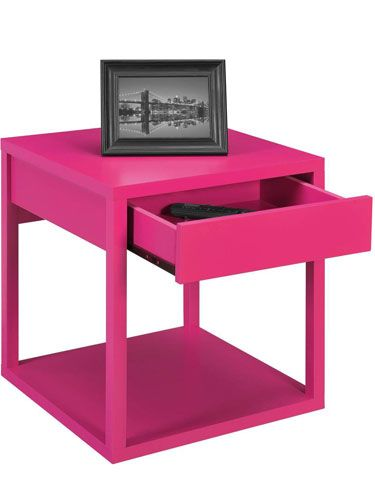 A hot pink nightstand adds a pop of unexpected color to your dorm! (Mainstays Parsons End Table with Drawer, $34, Walmart)