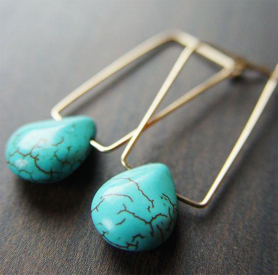 Rectangular Turquoise Earrings 14k Gold. $39.00, via Etsy.