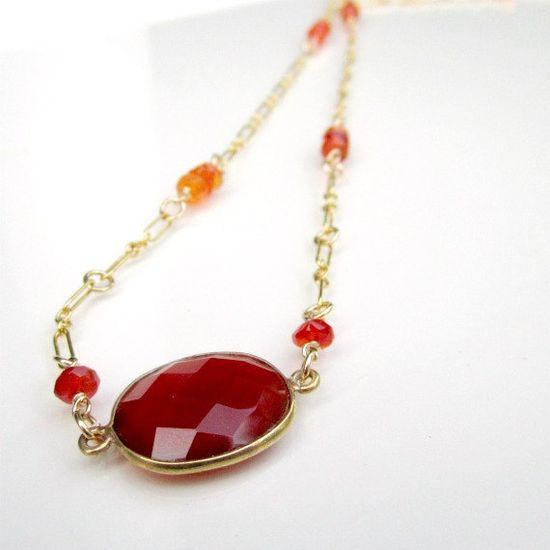 Carnelian Necklace Orange Jewelry Texas by jewelrybycarmal on Etsy, $50.00