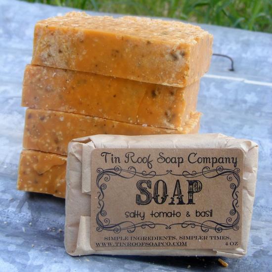 Salt Soap - Salty Tomato & Basil Soup Soap - Spa Bar, All Natural Soap, Shea Butter Soap, Herbal Soap, Vegan Soap, Salt Scrub