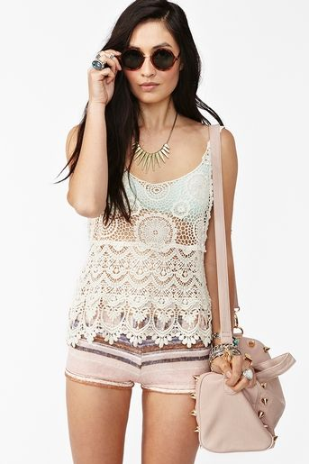 Lace Tank Top and Shorts