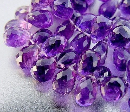 Grape Medium Purple Amethyst Faceted Teardrop Drop Briolette Beads