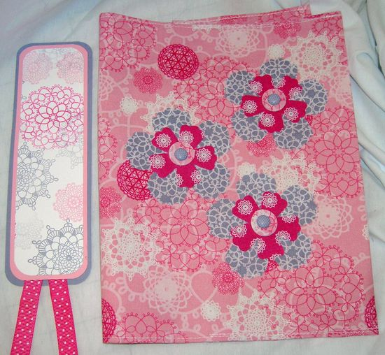 Composition book cover and bookmark made as a swap using Stampin' Up! designer fabric, Sizzix die for flowers, SU! stamps and ribbon.