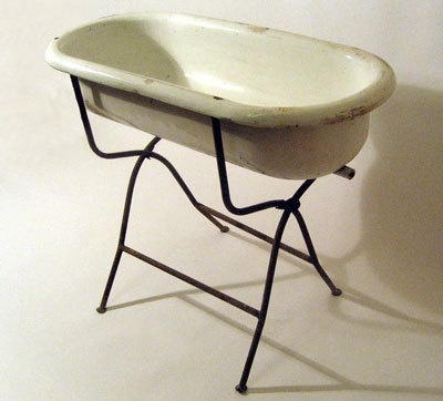 antique enamelled baby bathtub ... European ca ...1915-20's