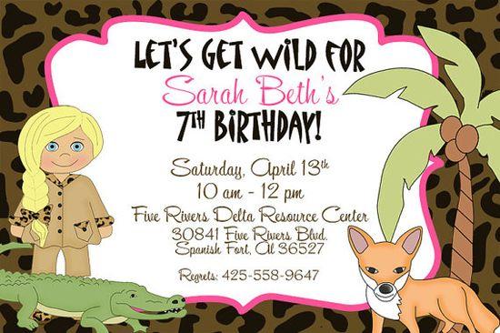 Girl Jungle Safari Wild Animal Photo Invitation DIY by MemoriesToo, $15.00