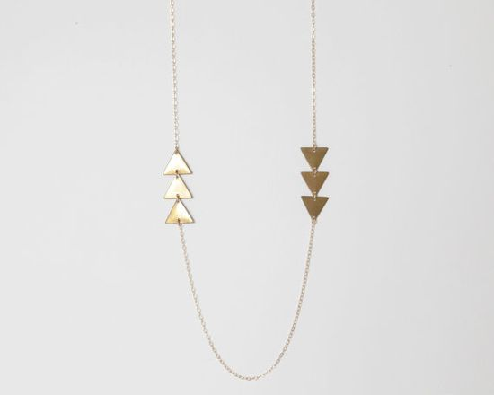 Airows  Delicate Raw Brass Triangle 14kt Gold Filled by catabot, $30.00