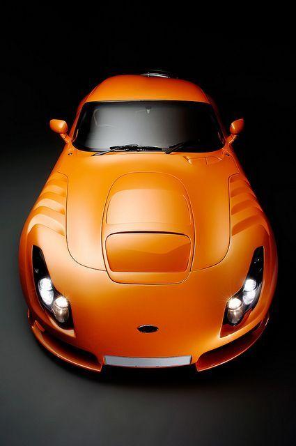 Orange car TVR Sagaris front by Flow Images, via #sport cars #luxury sports cars #celebritys sport cars