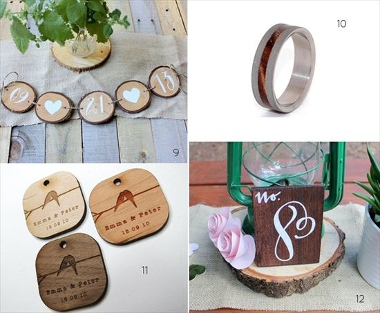 wood themed wedding ideas decorations garland table number favor tags