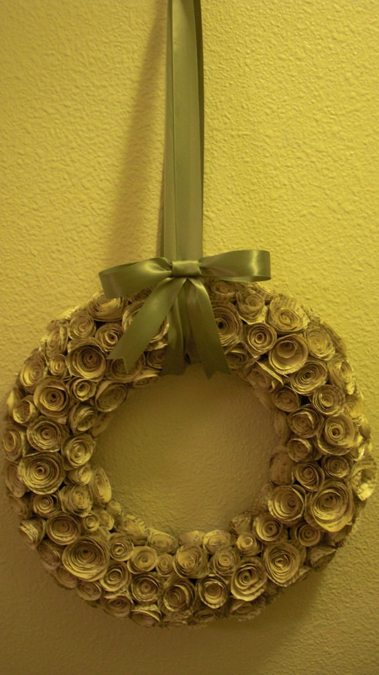 Handmade Paper Flower Wreath on Etsy, $40.00