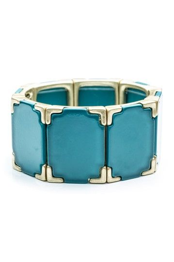 Blue Acrylic Square Stretch Bracelet