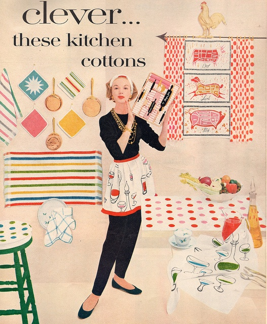 Just look at all those clever kitchen cottons! #vintage #1950s #kitchen #towels