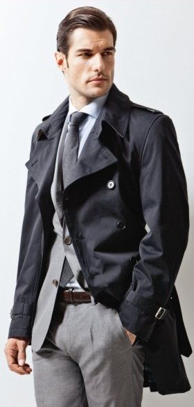Navy trench, Gray suit