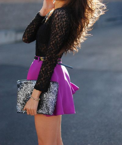 Lots of 2013 trends hit with this outfit: lace, skater skirt, purple