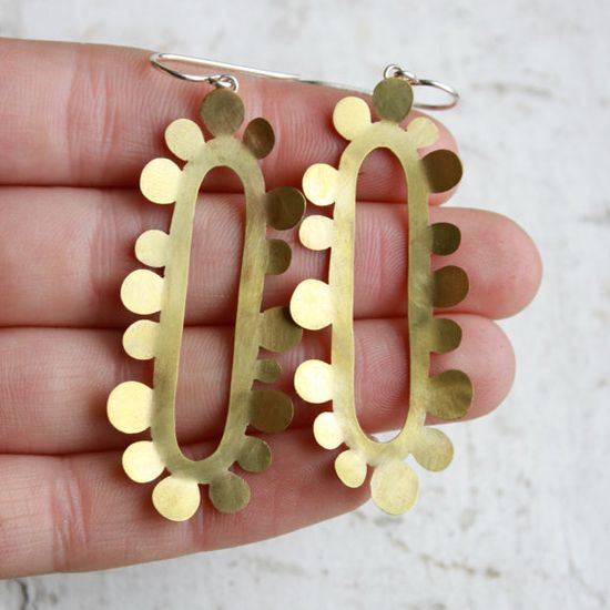 Long Gold Earrings   brass earrings   brass and by moiraklime, $88.00