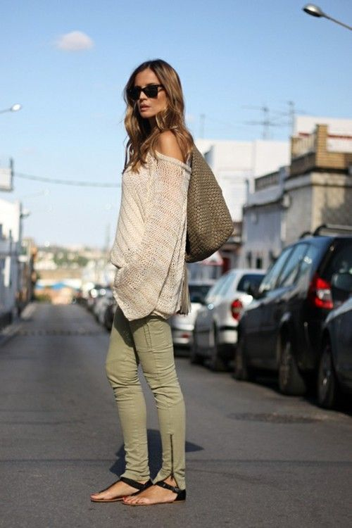 Relaxed fall style - army green skinnies, off the shoulder knit & cute sandals.