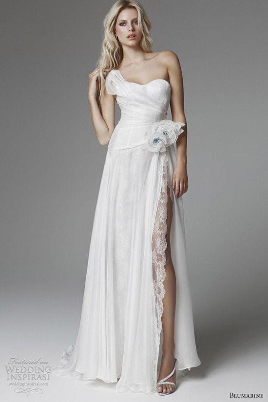 blumarine 2013 wedding dresses with high slit one shoulder