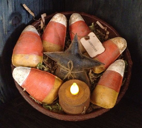 Primitive Grubby Candy Corn and Black Star Bowl Fillers on Etsy, $14.95