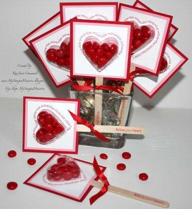 Sweet Treat Cups Lollipop Heart Valentine by MyStampinMemories, $18.00